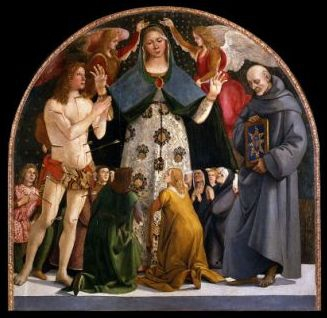 20 mai Saint Bernardin de Sienne Luca_Signorelli_-_Madonna_of_Mercy_and_Saints_Sebastian_and_Bernardino_da_Siena_-_Google_Art_Project